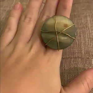 Jewelry - Green stone with gold wiring